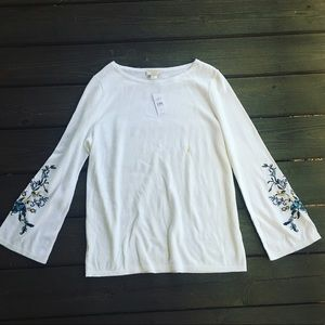 LOFT Outlet Embroidered Bell Sleeve Top